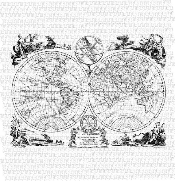 Black And White World Map Rug: Vintage World Map Printable Graphic Digital Paper High