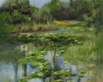 Print of  water  lilly pads, reflections and trees in a pond  - impressionist. From one of my original oil paintings.  Pencil signed.