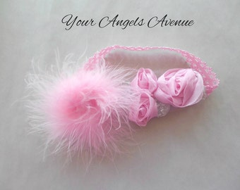 Pink Boutique Baby Headband Wedding Birthday Party Soft Stretch Lace Pretty Pink Poof and Roses