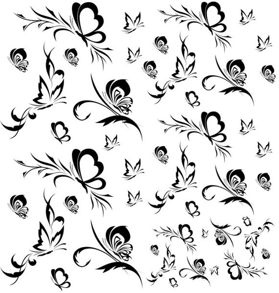 Stylized Butterflies Design Glass Decal Ceramic By Xpressme