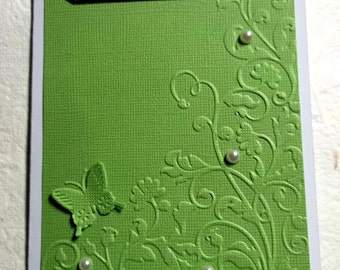 Embossed Thank You Card, With Butterfly