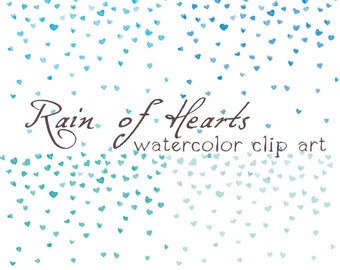 4x Digital Clipart ,Watercolor Hearts, Rainf of Hearts, Confetti, Blue Heart