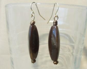 Vintage 90's Bronze & Brown Acrylic Bead Dangle Earrings, Simple Long Earth Tone Pierced Earrings, Marble Look Light Weight Fashion Jewelry
