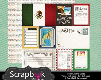 Mexico Journal Cards. Digital Scrapbooking. Project Life. Instant Download.