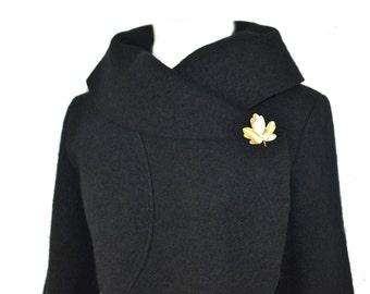 Women boiled wool Jacket size Xs-L black