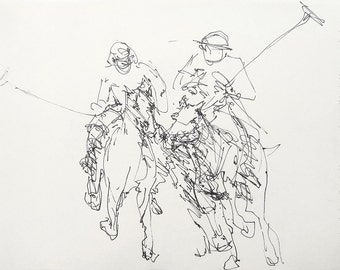 Polo players, Print of the original, Wall art, A3, Limited edition, Black & White, Ink drawing, Men s gift, Sports, Horses, Cosé Manzano