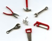 MINIATURE TOOLS for a mini dollhouse with hammer, nails, wrench, spanner wrench, pliers, saw, hacksaw, and 10 nails