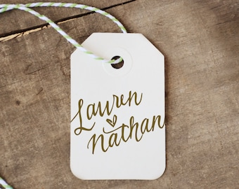 Personalized Handwritten Calligraphy Square Rubber Stamp with Optional Digital Text, Names with Wedding Date, Last Name, or Saying