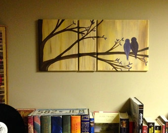 Two Birds on a Branch Matted Acrylic Painting on Box Canvas