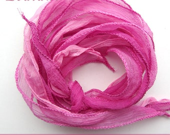 set with 3 silk ribbons crinkle crepe pink