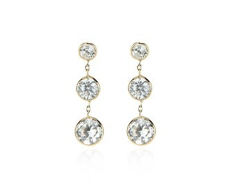 14K Gold Dangle Earrings - CZ's With Heart Shaped Cubic Zirconia