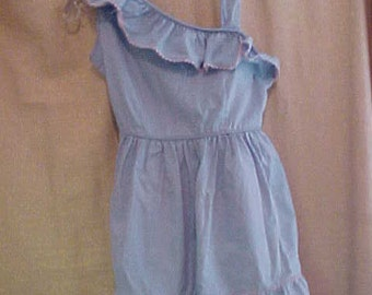 1950s Girls Blue Cotton One shoulder dress, size 8, old stock never worn, 2210