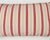 Red Linen Striped Grain Sack Style Throw Pillow, French Country Cottage Look, Removable Insert Included.