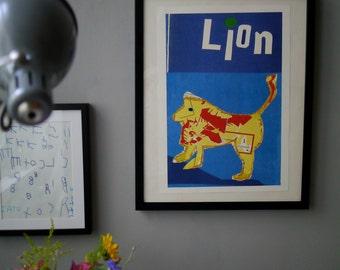 A3 Framed Lion Print