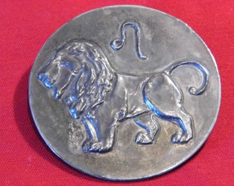 Original Arts and Crafts pewter Lion brooch