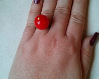 Handmade Large Red Plastic Bead and Metal Adjustable Ring