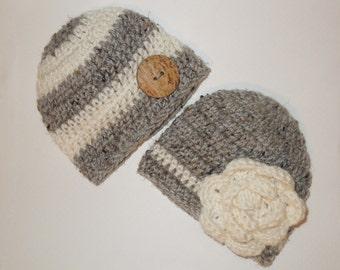 Twin Knit Hats Baby Hats Newborn Knit Hats Any Size Newborn Hat Photo Prop