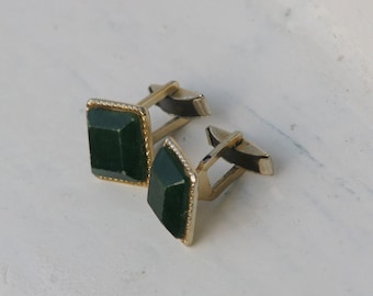Vintage Metal Cuff Links whith emerald faux stone - Made in USSR - Accessories Soviet Union era 1970-1980's