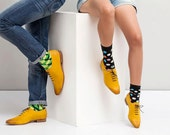Womens Oxford Shoes - Womens Shoes - Yellow Wedding Shoes - Leather Shoes - Yellow Shoes - Yellow Flats - Yellow Flat Shoes