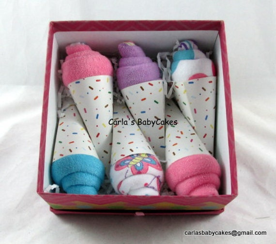Washcloth Ice Cream Cone Baby Ice Cream Cone Baby Shower Gift New
