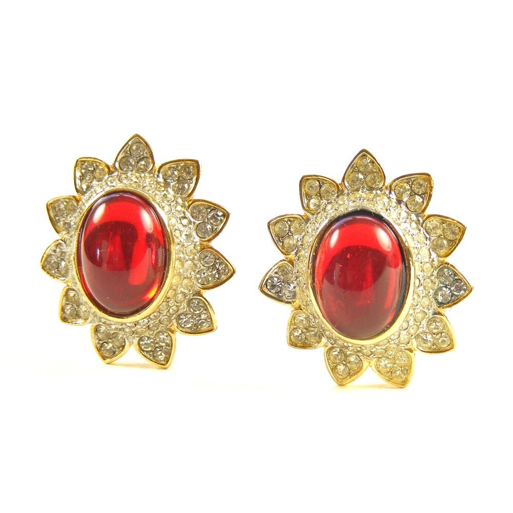 Signed Sphinx Vintage Clip Earrings, Red Runway Earrings, Gold Plated Vintage Designer Earrings