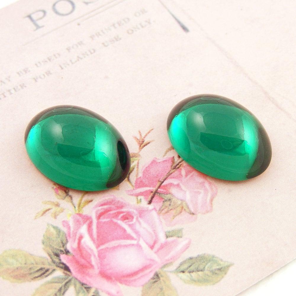 Vintage Emerald Cabochons, Emerald Green Swarovski Crystal, 18x13mm (2)
