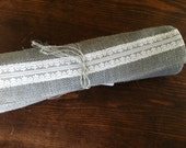 """36"""" Gray Burlap & Lace Table Runner"""