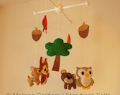 Baby Mobile - Woodland Animal Mobile - Felt Owl Bear Fox Dear Tree Acorns Leaves