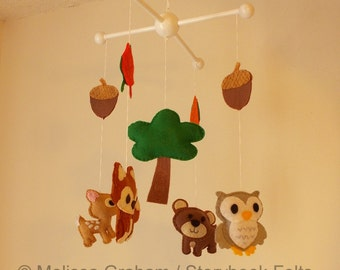 SHOP CLOSING SALE - Make Your Own Baby Mobile - Woodland Animal Mobile - Felt Owl Bear Fox Dear Tree Acorns Leaves Wood Hanger Sold Separate