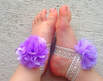 Purple and Gold Baby Barefoot Sandals - Piggy Petals and Headband - Toe Blooms - Flower Sandals - Baby Shower Gift - Baby Girl Shoes