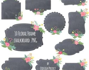 Floral Chalkboard Frame Clipart Floral Frame Chalkboard frame for scrapbooking wedding invitation commercial use