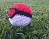 Crocheted  Pokeball with a Heart (with addable text option)