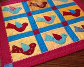 Sweet Tweets Bird Appliquéd wall hanging or table topper.