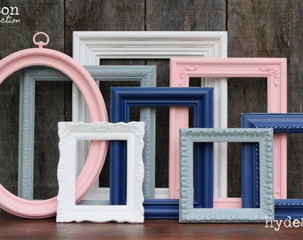 Pink and Navy Blue Baby Girl Nursery Frame Set / Shabby Chic Decor / Girl's Room / Distressed Picture Frame Set / Madison Collection