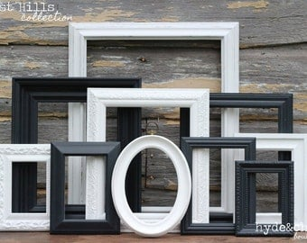 Shabby Chic Decor / Upcycled Distressed Picture Frame Set / Black and White / Gallery Wall Frame Set / West Hills Collection