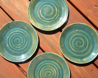 Jade Green Stoneware Dinner or Salad Plates