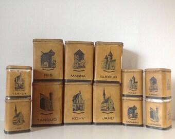 Vintage canister set / vintage tins / 1950's canisters