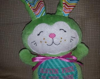 Celiac disease/Gluten Free Awareness Plush bunny - Gluten Free is the Way to be! Can be personalized!