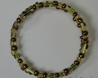 "Copper, Lime, and Amber 14"" Double Wrapped Bracelet"