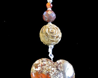 "Flavors of Earthy Burnt Orange and Tans 20"" Necklace with Heart Pendant"