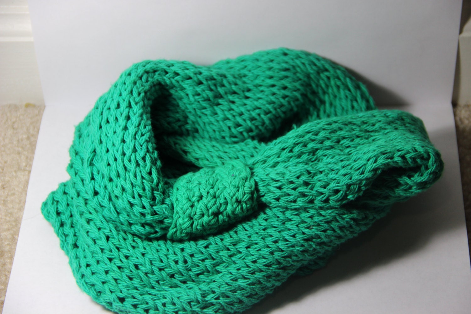 Loom Knitting Infinity Scarf Patterns : Loom Knit Green Infinity Scarf by FourLittleSparks on Etsy