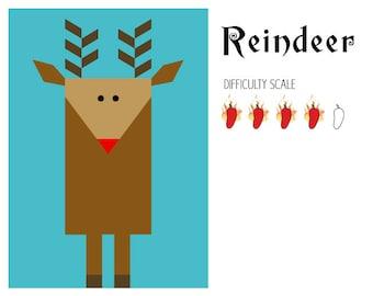 Reindeer paper pieced quilt pattern
