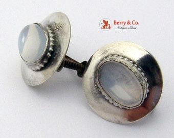 Moonstone and Silver Earrings Screw Backs
