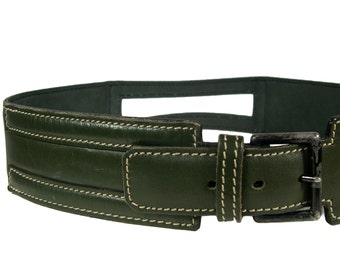 Vintage Alaia Forest Green Leather Belt - 1980s