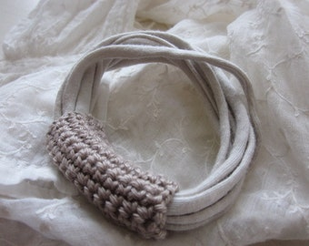Off White Bracelet Textile Cotton Taupe Cotton Crocheted, Handmade,