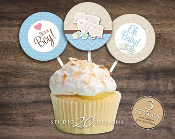 """Instant Download 2"""" Blue Lamb Cupcake Toppers, Printable Lamb Baby Shower Cupcake Toppers, Its A Boy Baby Shower Toppers, Baby Gift Tags 39B"""