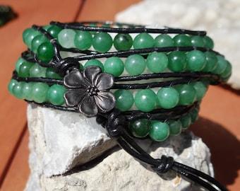 Light Green Jade Leather 4X Wrap Bracelet