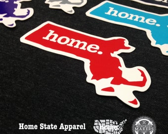 Massachusetts Home. Colored Vinyl Sticker