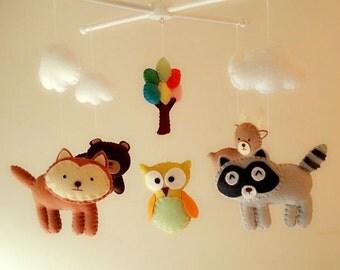 "Baby crib mobile, forest mobile, animal mobile , felt mobile ""Forest friends 7"" - Owl, Raccoon, Bear, Deer, Fox"