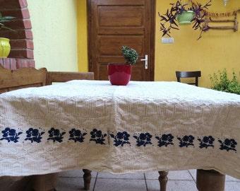 18. Vintage linen, homespun , handloomed , Vintage flax linen, hemp   tablecloth from Transylvania 1940s
